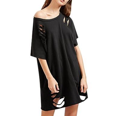 beauty detailed look great deals semen T-Shirt Tunique Longue Femme Surdimensionné Effet Déchiré Col Rond  Manches Courtes Top Haut Troué Tendance Cool