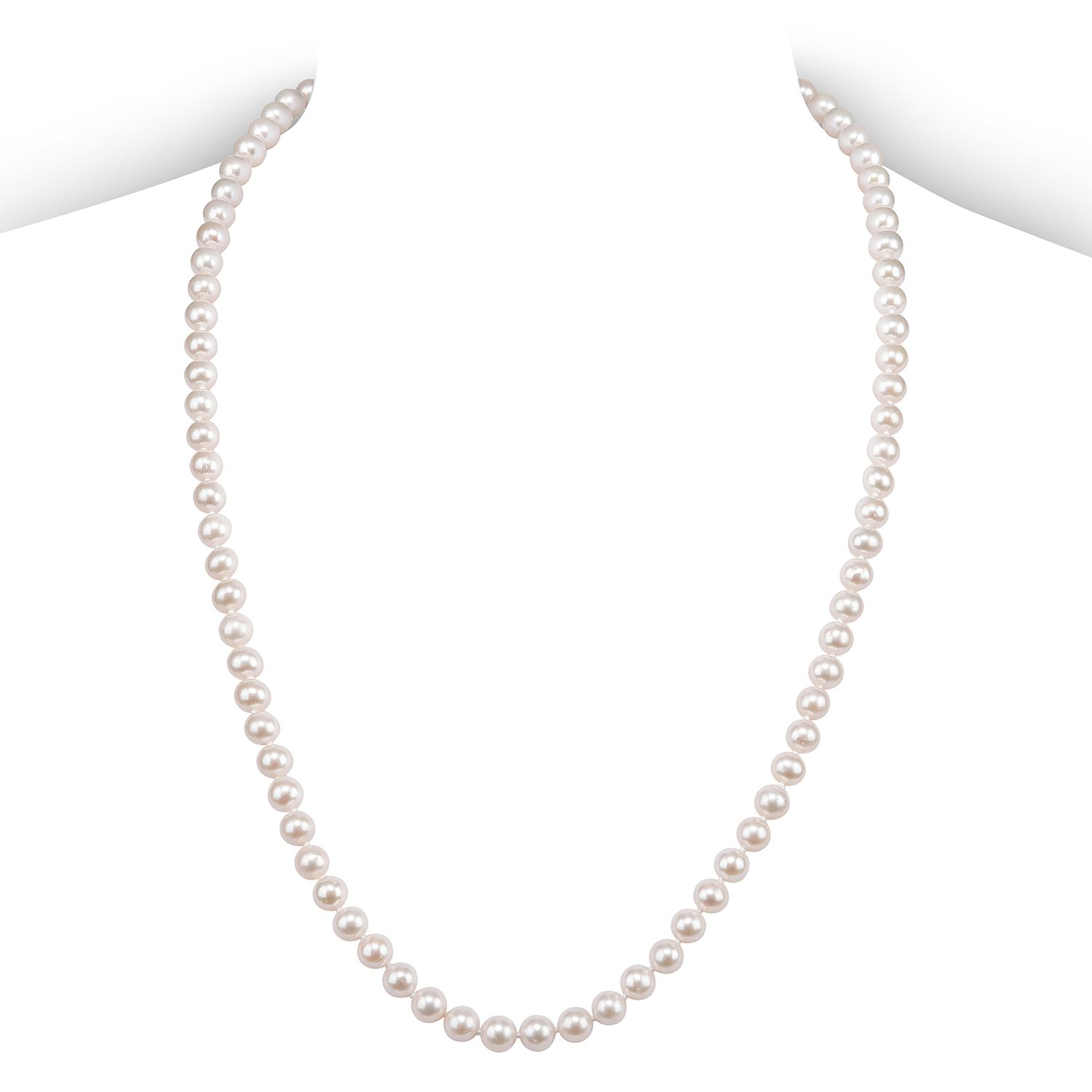 PAVOI Sterling Silver White Freshwater Cultured Pearl Necklace (24, 6mm)