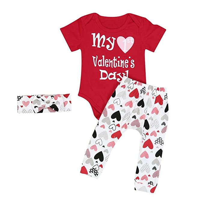 7987e138 Mostsola 3 Pcs Infant Baby Boy Girl Romper Pants Headband Valentines Day Outfits  Sets (6