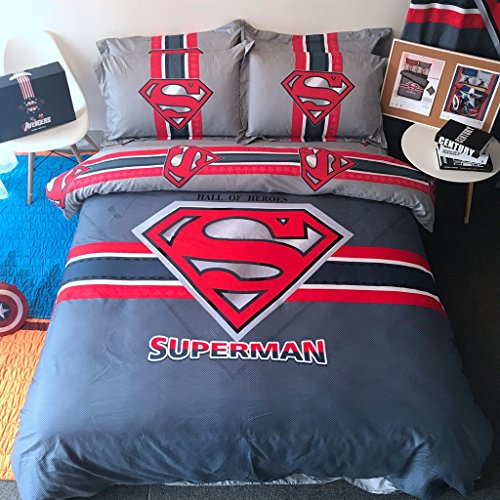 Casa 100% Cotton Kids Bedding Set Boys Superman Duvet cover and Pillow cases and Fitted sheet,Boys,4 Pieces,Queen