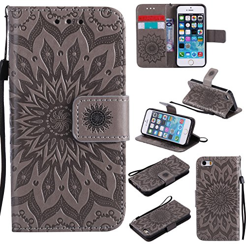 Leather Sunflower Magnetic Closure Protective