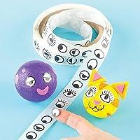 Baker Ross EV1202 oogstickers in voordeelverpakking voor het knutselen van figuren voor kinderen - 1000 stuks, zwart/wit…