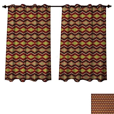 Anzhouqux Tan and Brown Blackout Thermal Curtain Panel Knitting Themed Graphic Pattern with Zigzag Ornamental Chains and Warm Hues Patterned Drape for Glass Door Multicolor