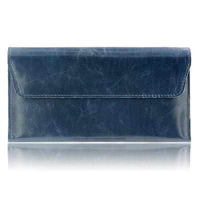 40e40ad8aba8 Amazon | Drawing IQ 長財布 レディース [A16098] 本革 財布 シンプル 薄い型 レザー ラウンドファスナーウォレット  スマホポケット付き | 財布