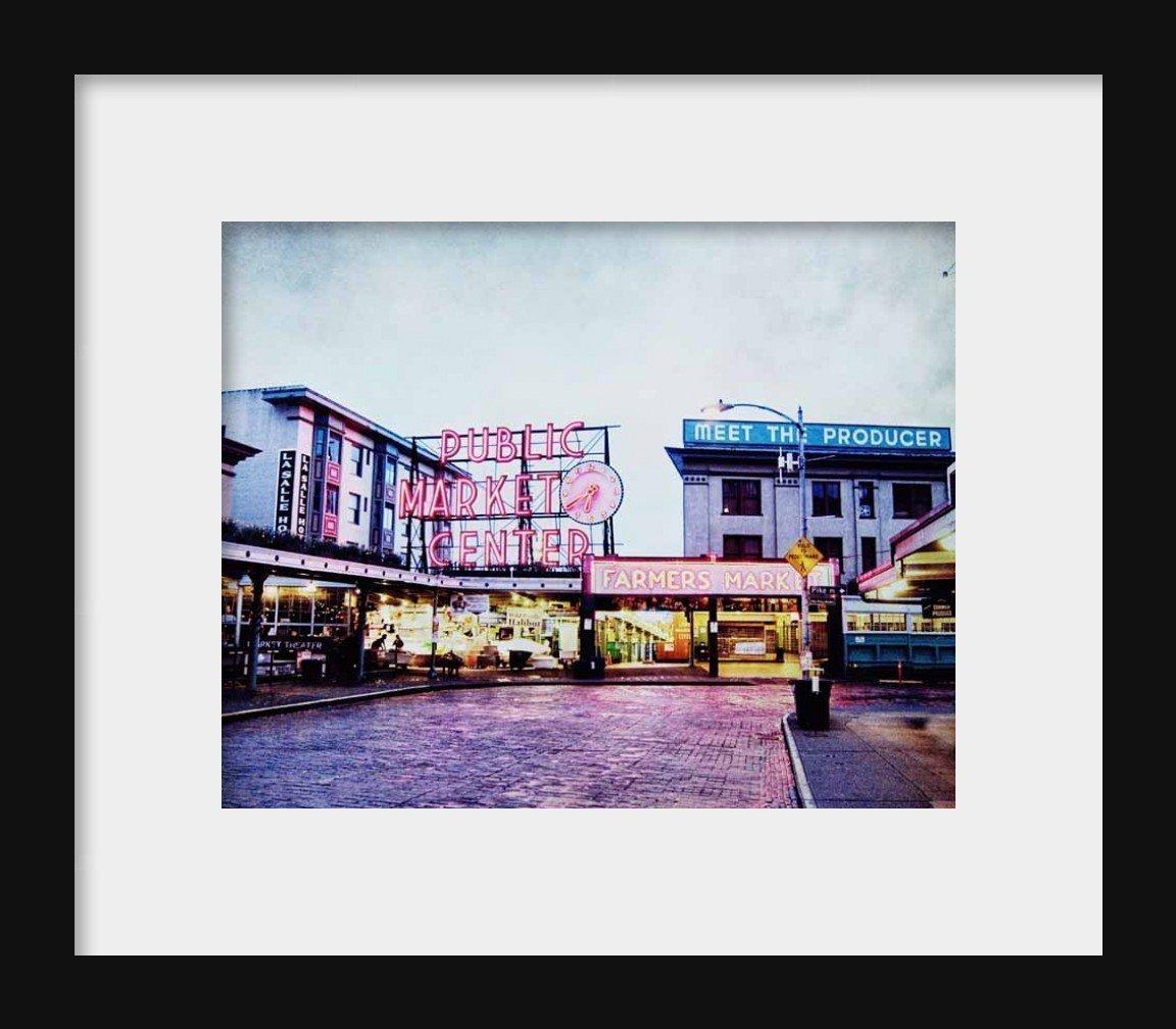 Set of 3 Seattle Photos Space Needle Starbucks Public Market Urban Decor 5x7 inch prints