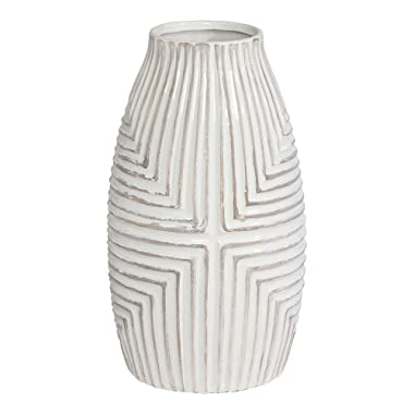 Ethan Allen Aztec Vase, Large, White