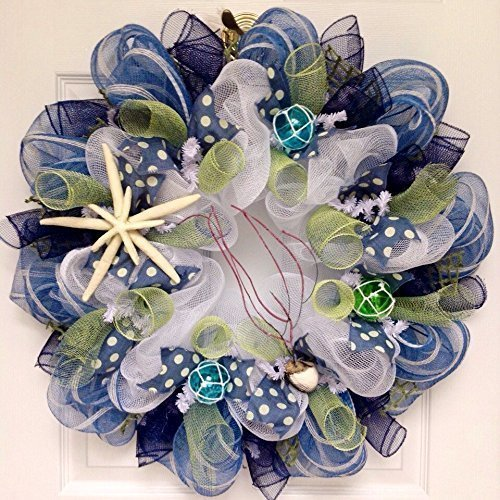 Sanibel Island Seashell Beach Wreath with Starfish Summer Handmade Deco Mesh Wreath