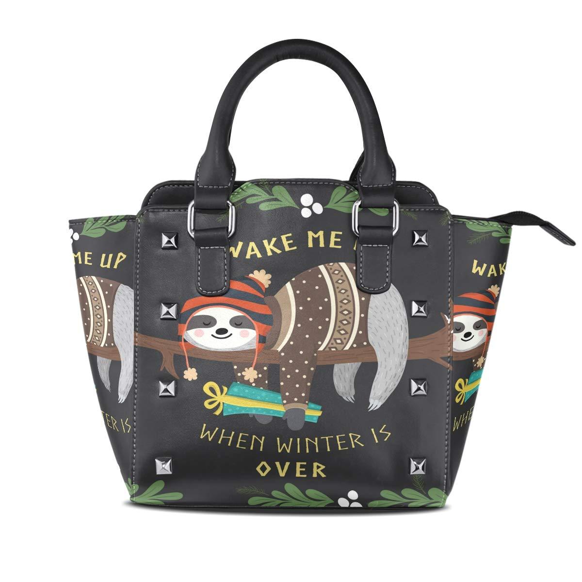 Design2 Handbag Penguin Genuine Leather Tote Rivet Bag Shoulder Strap Top Handle Women