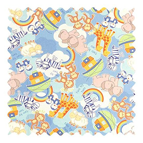 SheetWorld 100% Cotton Percale Fabric by The Yard, Noahs Ark, 36 x 44