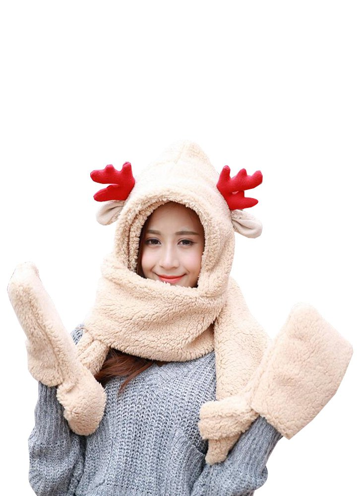 Wicky LS Christmas Accessories, Including Hat and Scarf and Gloves (One Size, Adults Style-Beige)