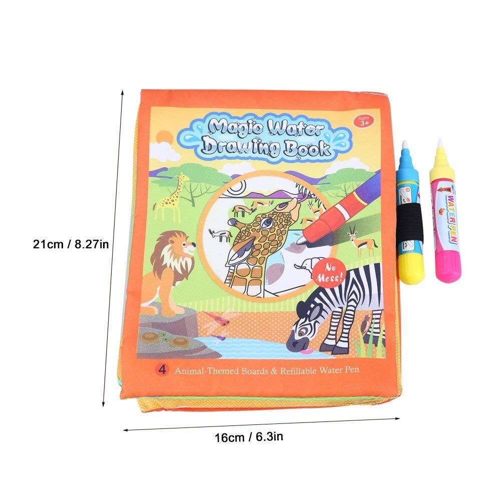Libro de Tela Beb/é Baby Kids Water Drawing Painting Cloth Book con Pen Reusable Learning Playing Toys Presents