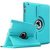 Aavjo 360 Degree Swivel Rotating Multi-Angle Stand PU Leather Screen Protective Smart Book Folio Flip Carry Back Case Cover for Apple iPad 2; iPad 3; iPad 4 (Sky Blue)