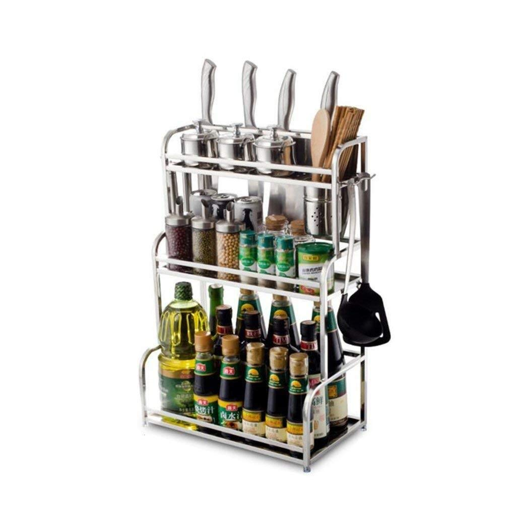 40CM Storage Rack- Kitchen Racks Silver Stainless Steel Wall-Mounted Seasoning Seasoning Shelf Knife Board Oil Salt Sauce Vinegar Storage Supplies ZXMDMZ (Size   40CM)