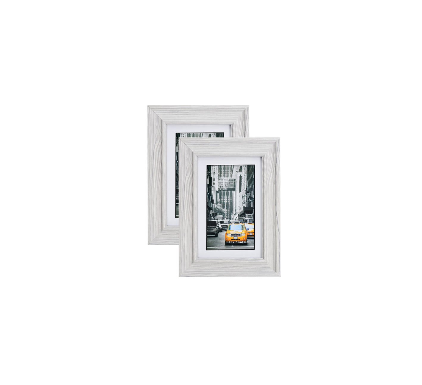 Marble Gray Wood Picture Frame 4X6 (2pc) Photo Display with Glass Front, Easel Back, Hanging Clip | 2 PIECE SET