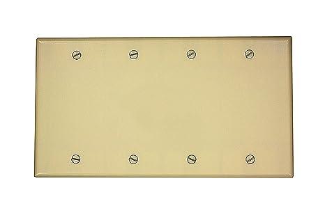 Leviton 86064 4-Gang No Device Blank Wallplate, Standard Size ...