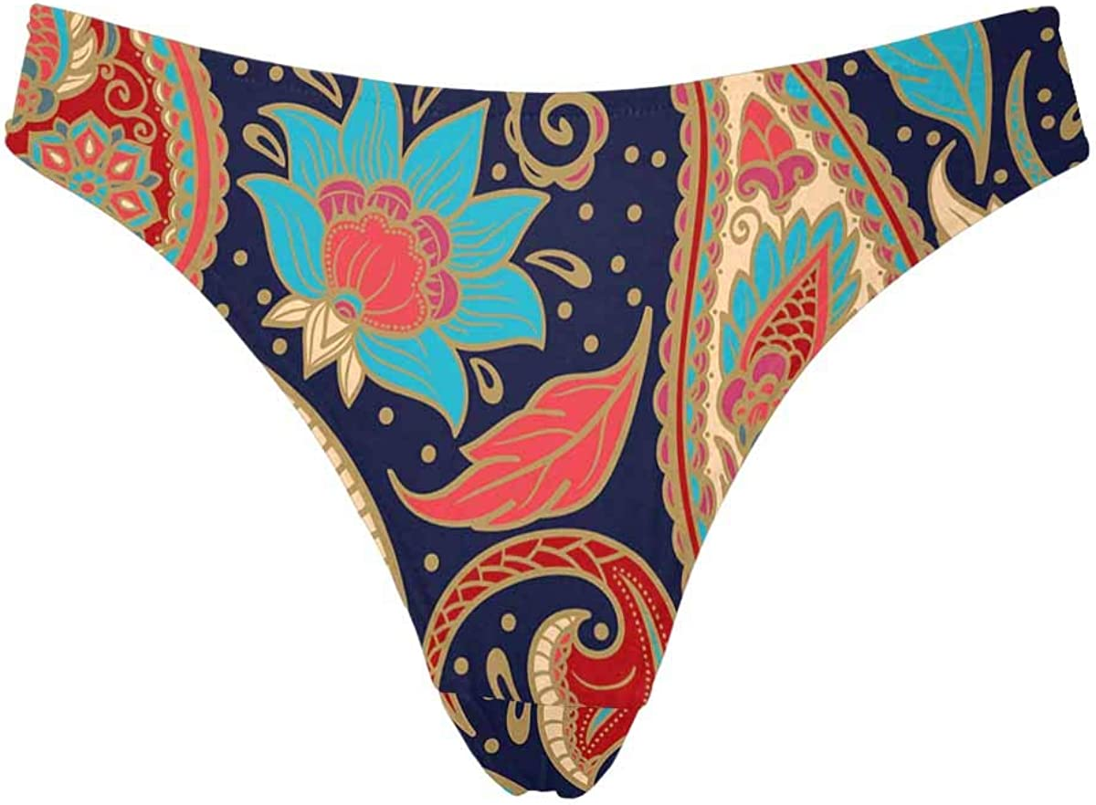 INTERESTPRINT Womens Thongs Vintage Floral Pattern Underwear Comfort Panty XS-3XL