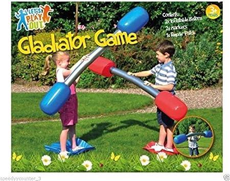 Kids Inflatable Gladiators Baton Duel Game Outdoor Garden Childrens Fun