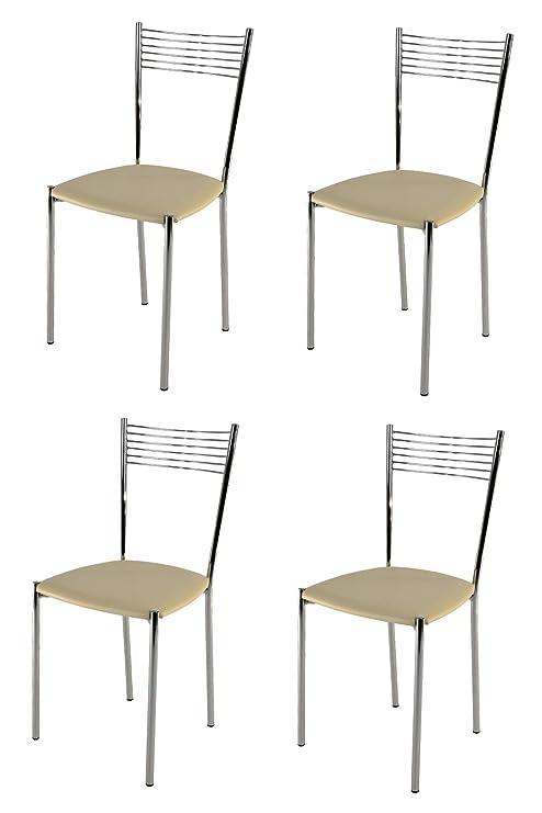 Tommychairs – Juego de 4 sillas Modernas y de diseño Elegante para Cocina,  Bar, salón y Comedor, con Robusta Estructura de Acero Cromado y Asiento ...