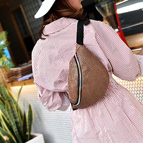 Vintage Domybest Brown Light Bags Waist Handbag Straw Women Crossbody Fanny Shoulder Pack Casual HddqgF