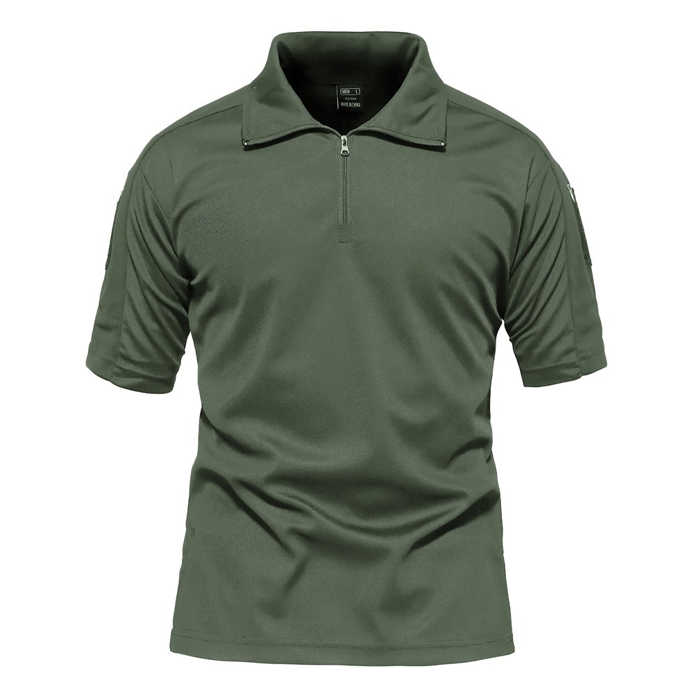 TACVASEN Mens Polyester Soft Comfort Paintball Airsoft Short Sleeve T Shirt Top Army Green by TACVASEN (Image #2)