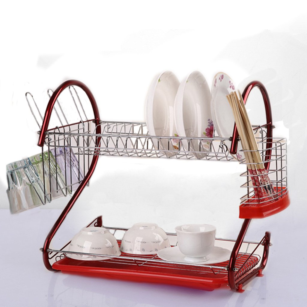 2 Tier Stainless Steel Dish Rack with Drainboard & Cutlery Holder Kitchen Cup Dish Drying Rack Tray Cultery Dish Drainer