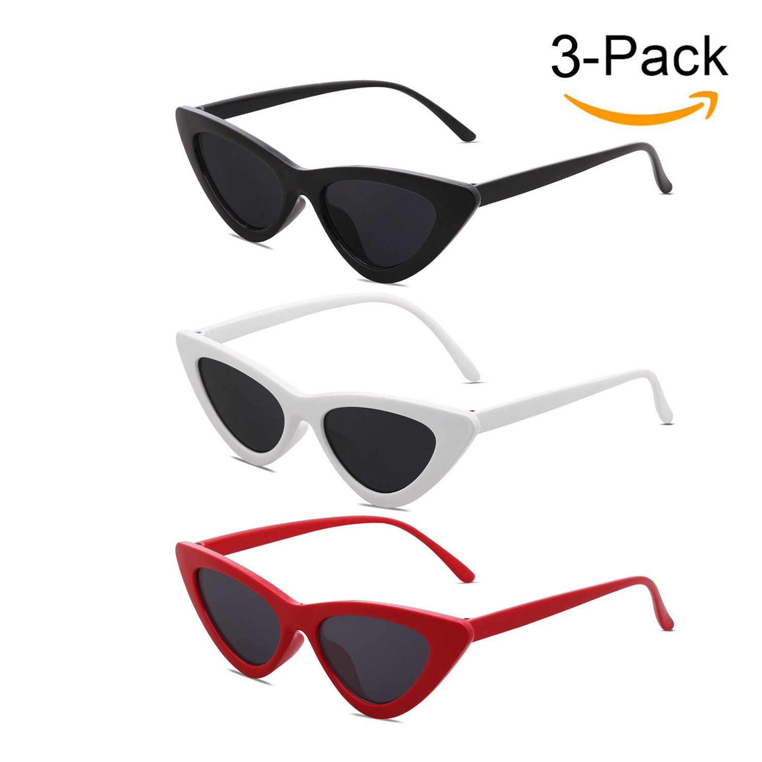 Kids Cat Eye Sunglasses for Girls Children Age 3 to 10 Retro Clout Goggles, Ideal Gift for Kids, Mother & daughter Matching Style - Set of 3 White & Black & Red