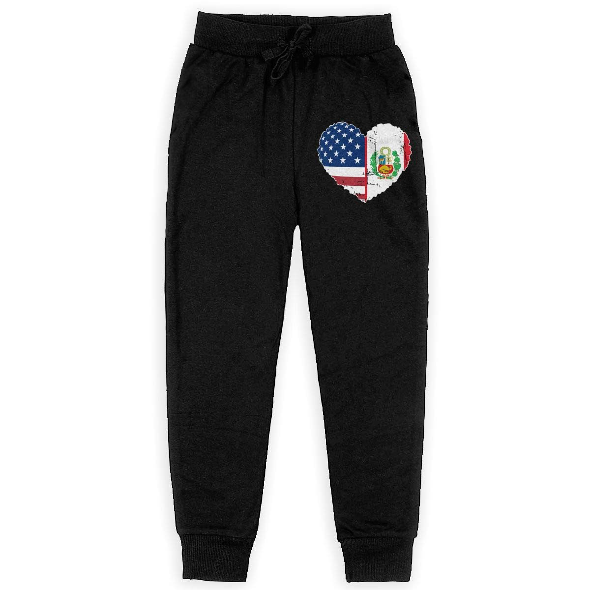 Youth Active Basic Jogger Fleece Pants for Teenager Boys WYZVK22 Peru USA Flag Heart Soft//Cozy Sweatpants