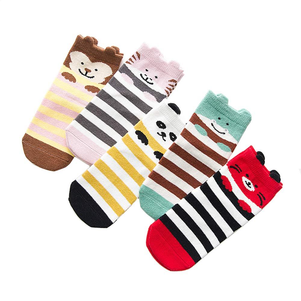 Toddler Children Animal Socks Cartoon Socks Ankle Warm Cotton, Non-Skid, Animal Patterned, for Girls Boys, 5 Pairs(S(1-3Y), Animal Face)