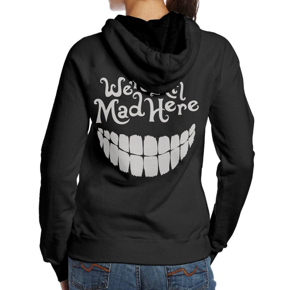 Ano Womens Hooded Evil Teeth Were All Mad Here White Black