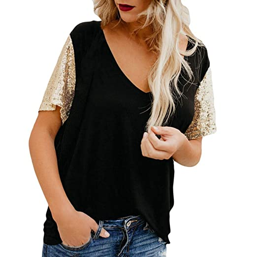 69d0bd004e78 Wobuoke Fashion Women's V-Neck Short Sleeve Stand Out Sequin Sleeve ...