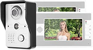 7in TFT LCD Wired Video Doorbell Door Phone Intercom with 2 Monitors Night Vision Call and Custom Ringtone Function for Home Security System(US)