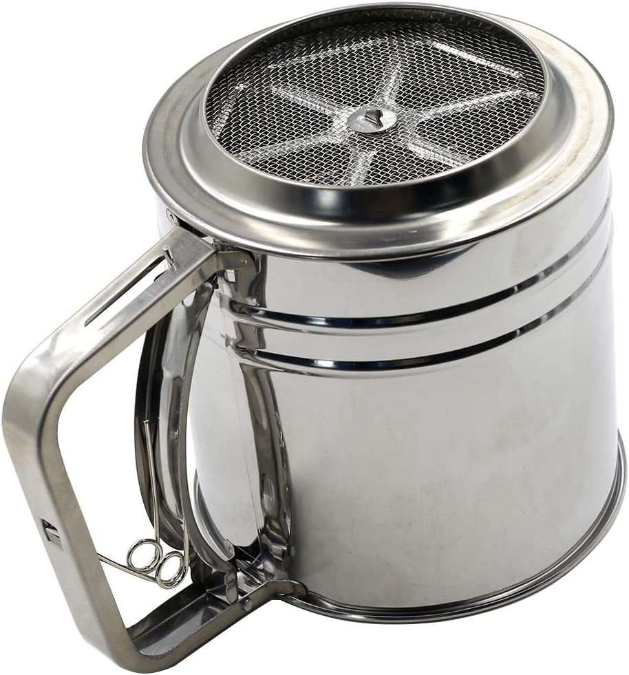 suiwotin Flour Sifter Stainless Steel 3 Cup Baking Sieve Cup with Handle Screen Tool Cup for Powdered Sugar Hand Squeezing Flour Screen