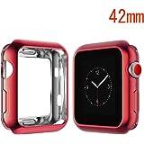 Maxku Apple Watch Series 3 42mm / Apple Watch 42mm ケース メッキTPUケース ソフト 耐衝撃 薄型 軽量 カバー TPU 脱着簡単 アップル ウォッチ シリーズ3 42mm ケース(レッド)