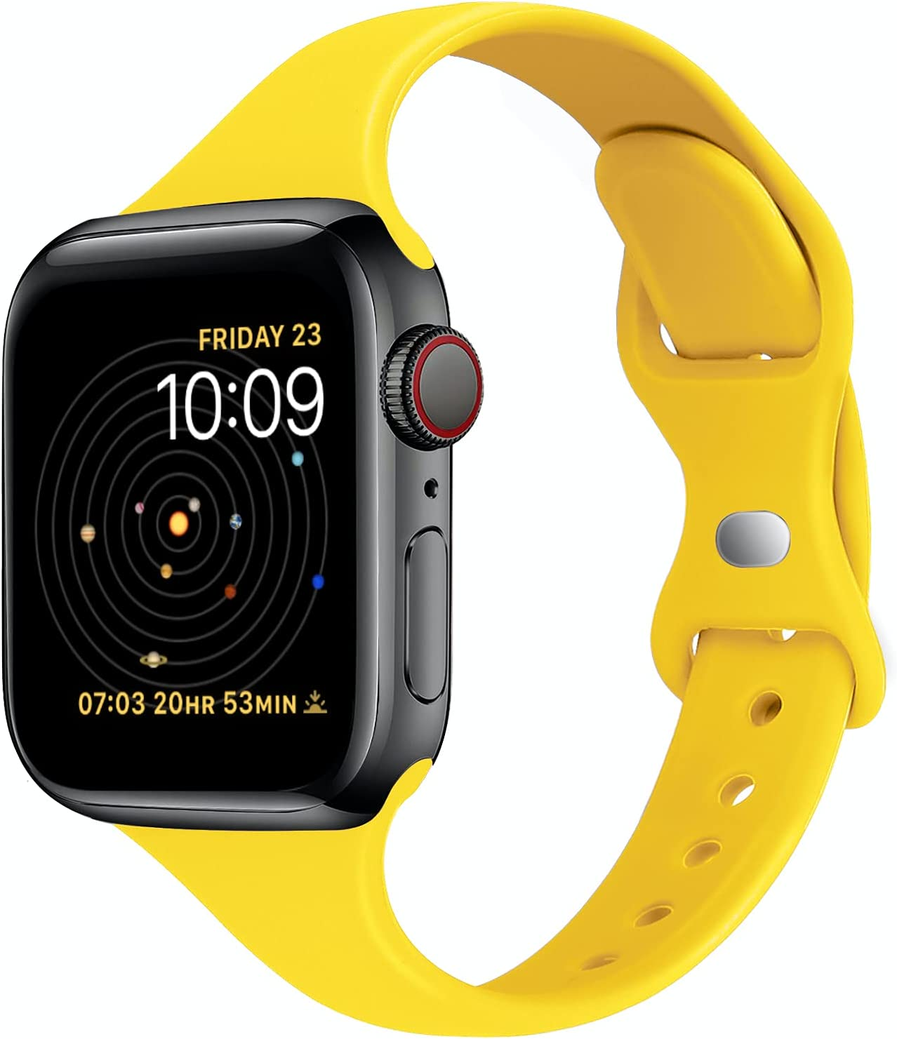 STG Sport Band Compatible with Apple Watch 38mm 40mm 42mm 44mm, Soft Silicone Slim Thin Narrow Replacement Strap Compatible for iWatch SE Series 6/5/4/3/2/1 (Yellow, 42/44mm)
