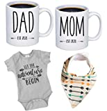 """Pregnancy Gift Est 2021 - New Mommy and Daddy Est 2021 11 oz Mug Heart Set with""""Let Adventure Begin"""" Romper (0-3 Months…"""