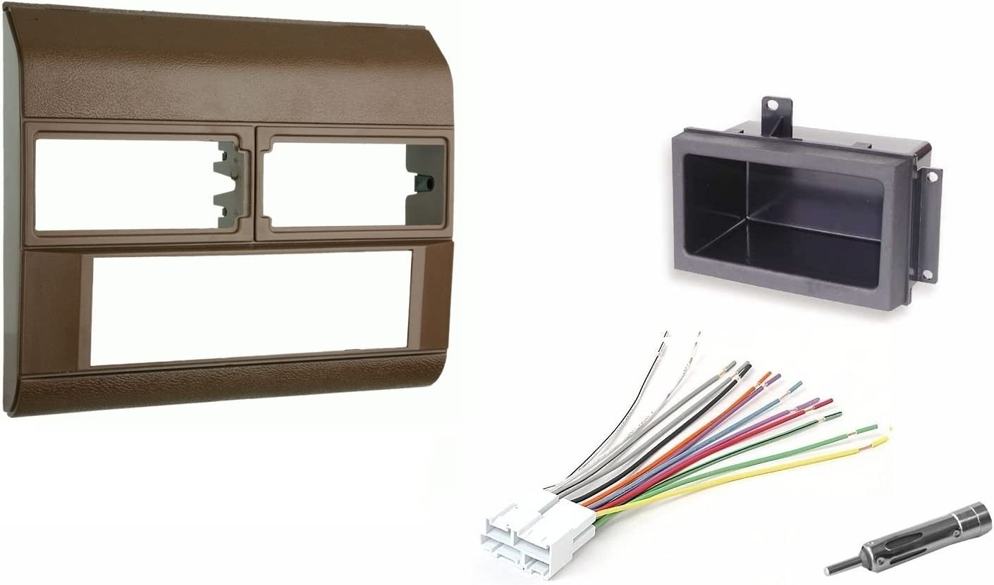 Beige Radio Stereo Dash Kit w//Wire Harness+Pocket+Antenna Adapter Fits Chevy Pickup Truck 88-94