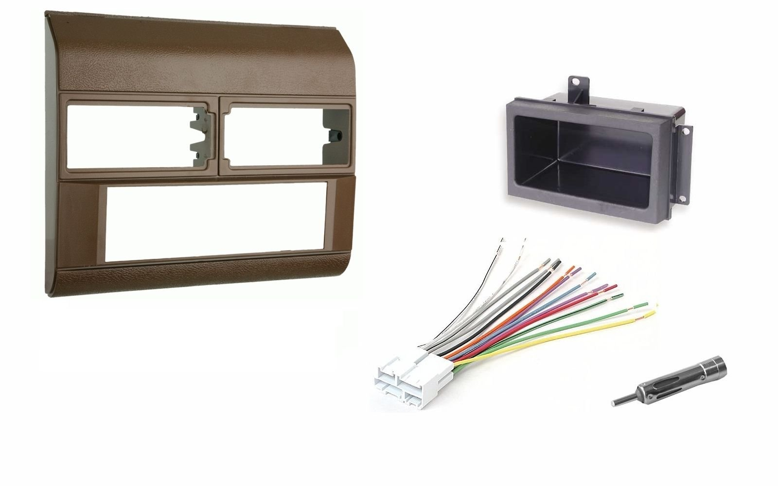 Beige Radio Stereo Dash Kit w/Wire Harness+Pocket+Antenna Adapter Fits Chevy Pickup Truck 88-94