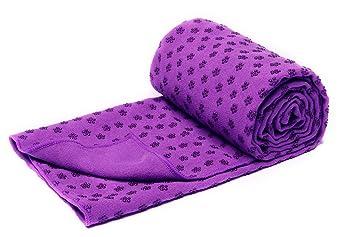 Toalla para estera de yoga bikram, de secado rápido, antideslizante con puntos