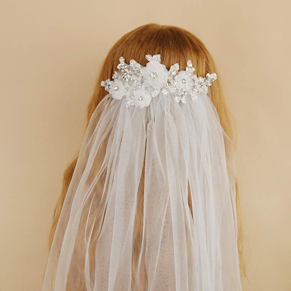 THK-Wedding Wedding Veil White,Two Tier Ribbon Edge Center Cascade Bridal Wedding Veil with Comb
