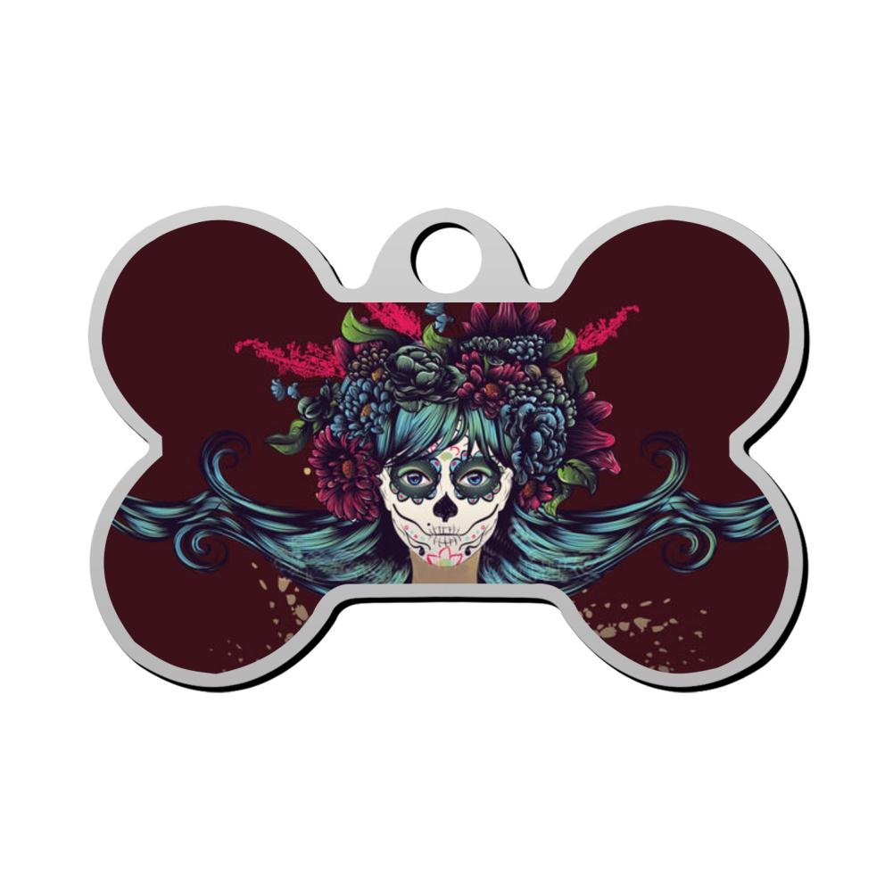 BSARRE Personalized Pet ID Tags for Dogs & Cats Flower Sugar Skull Double Sided Bone Dog Tag