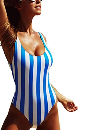 design innovativo 442b2 dcc73 seniu66 Tuta Aderente da Donna con Elastico a Righe Verticali in Costume  Intero Costumi Interi