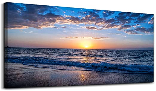 Blue Ocean Waves Wall Poster Wall Art Oil Painting Re-print House Decor Pictures