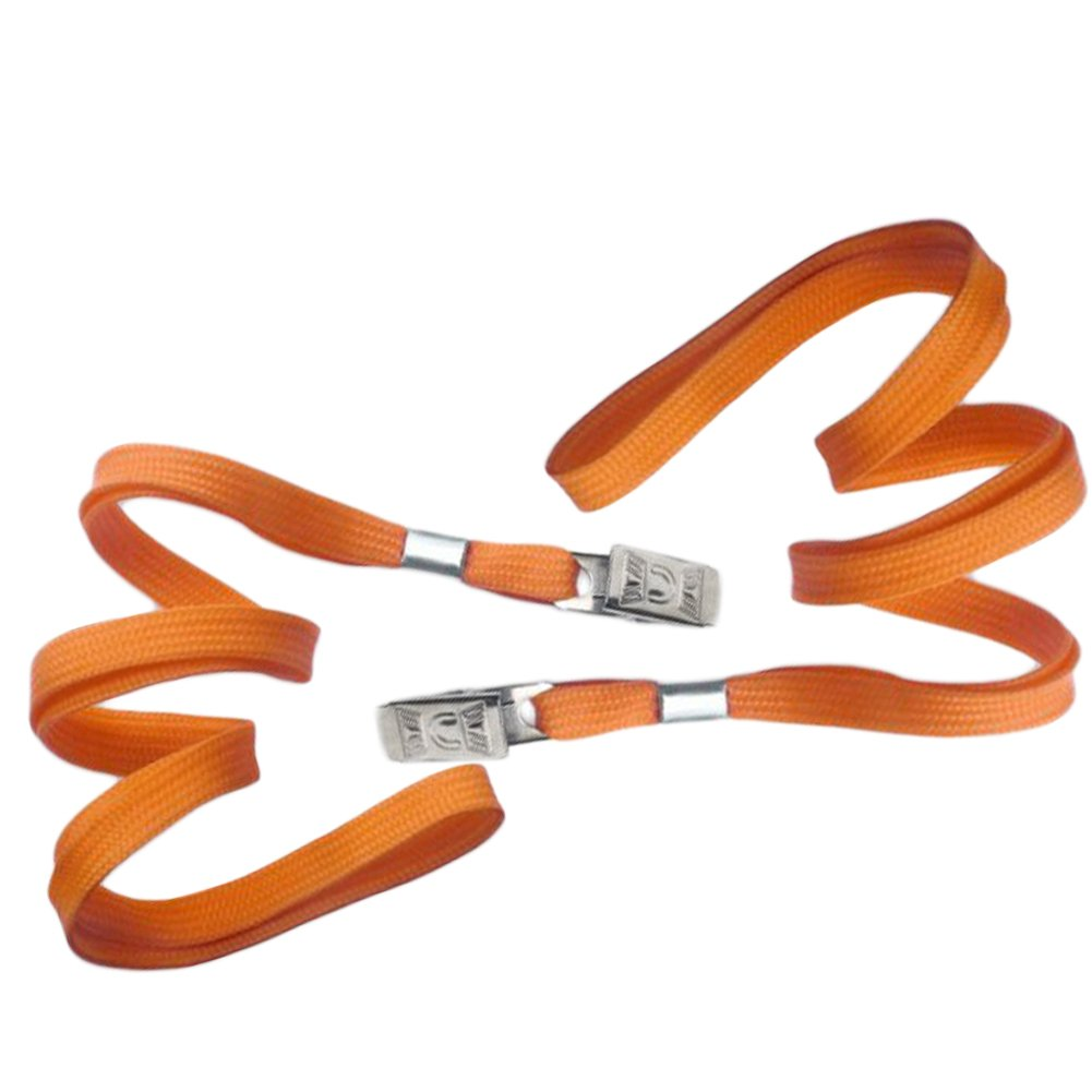 Orange Blank Flat Nylon Neck Lanyards/Straps / Strings with Bulldog Badge Clip Attachment for Office ID Name Tags and Badge Holders