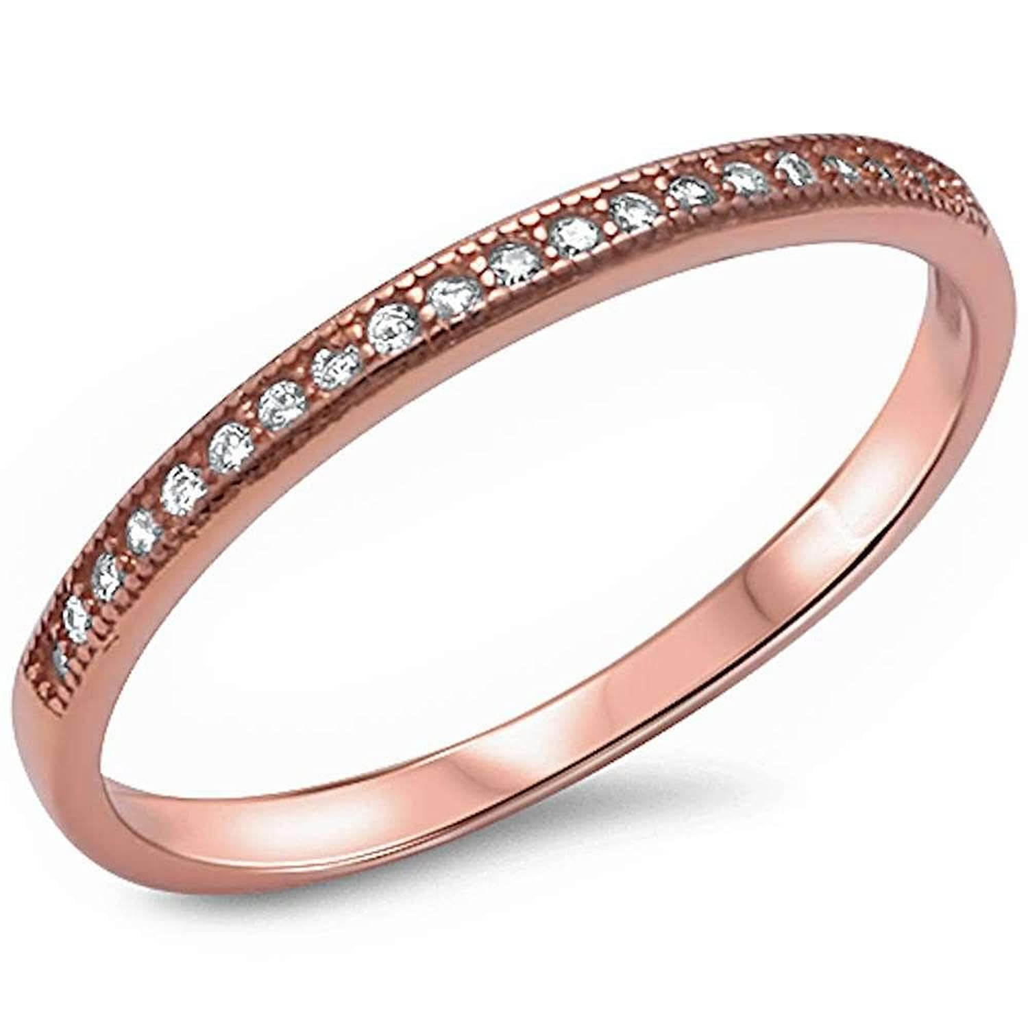 Brightt Rose Gold Plated Micro Pave Cz Band .925 Sterling Silver Ring Sizes 4-12