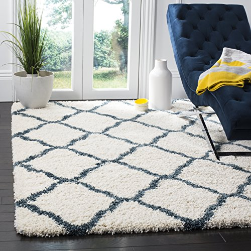 Safavieh Hudson Shag Collection SGH283T Ivory and Slate Blue Moroccan Geometric Area Rug (9' x 12')