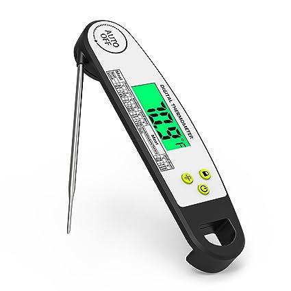 Funria Termómetro de Carne Termómetro de Cocina Digital Termómetro de Alimentos Lectura Instantánea Plegable con Sonda