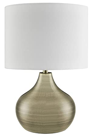 Lighting Collection Modern Classic 1 Light Large Table Lamp With Ivory Drum Shade Metal E14 40 W Antique Brass