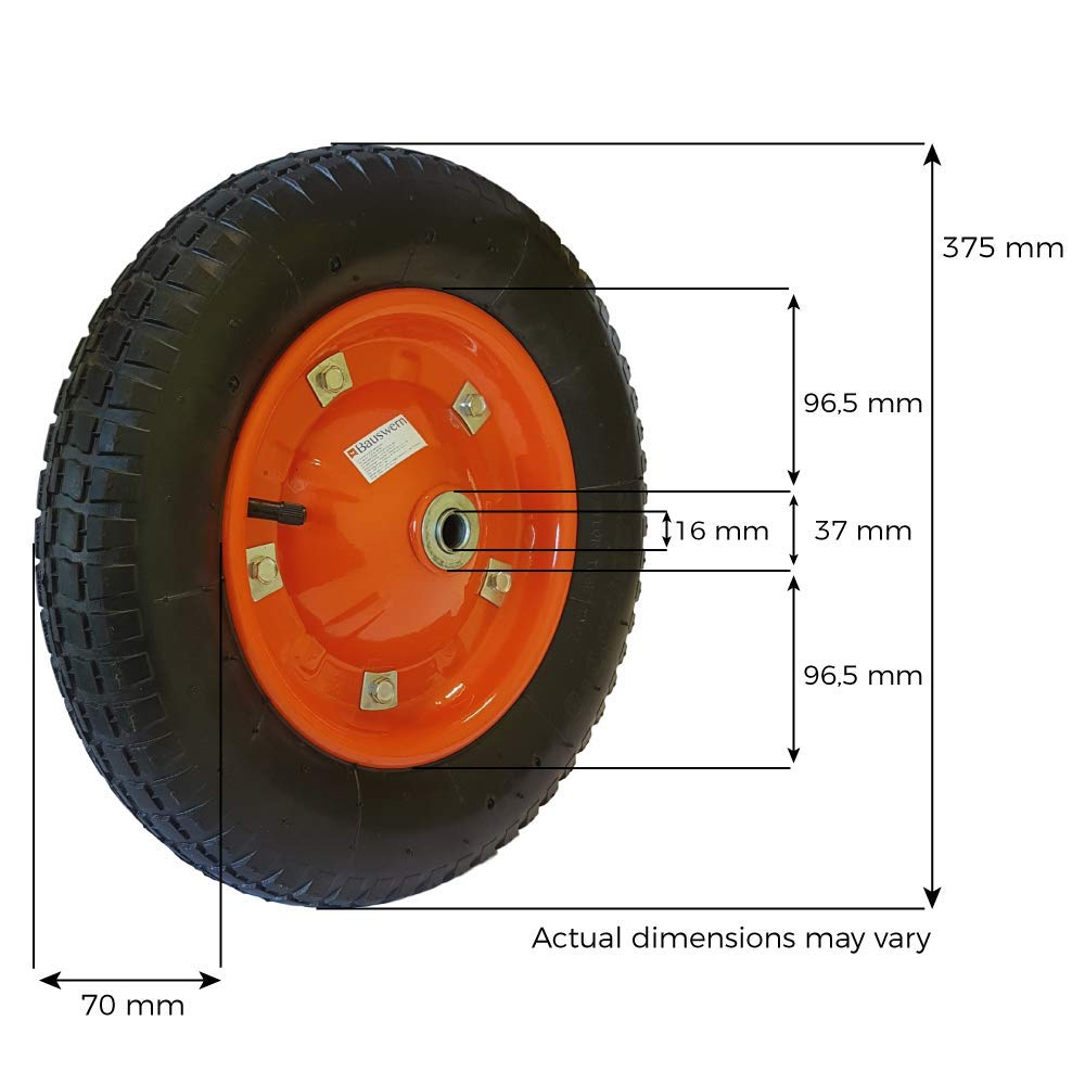 BAUSWERN Pneumatic Wheel for Trolleys Wheelbarrow 3.00-4 Metal 4.00-6 Metal 3.25//3.50//4.00-8 3.25-8
