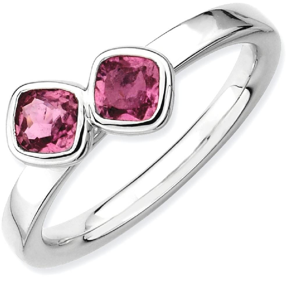 ICE CARATS 925 Sterling Silver Dbl Cushion Cut Pink Tourmaline Band Ring Size 7.00 Stone Stackable Gemstone Birthstone October/pink Tour/creat P Sapphire Fine Jewelry Gift Set For Women Heart