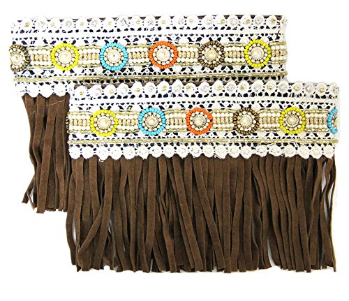 Lace and Beaded Suede Fringe Boot Cover Cuff